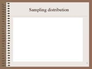 Sampling distribution 1 Sampling distribution 2 Sampling distribution