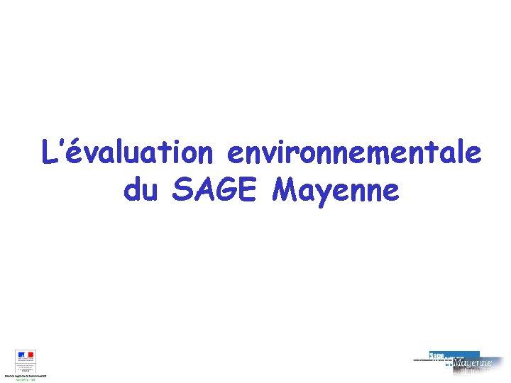 Lvaluation environnementale du SAGE Mayenne Situation du SAGE