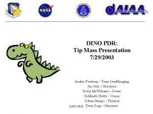 DINO PDR Tip Mass Presentation 7292003 Anders Fornberg
