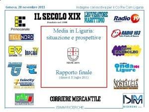 Titolo Genova 1428 dellargomento novembre Roma giugno 2011