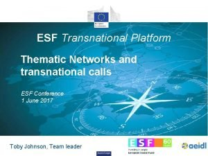 ESF Transnational Platform Thematic Networks and transnational calls