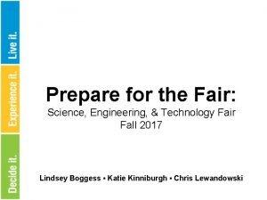 Prepare for the Fair Science Engineering Technology Fair