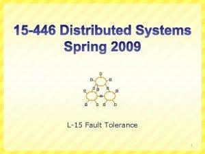 L15 Fault Tolerance 1 Fault Tolerance Terminology Byzantine