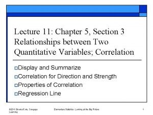 Lecture 11 Chapter 5 Section 3 Relationships between