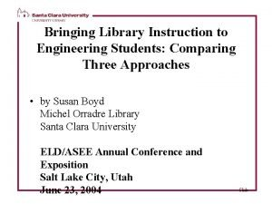 Bringing Library Instruction to Engineering Students Comparing Three