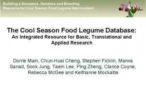 The Cool Season Food Legume Database An Integrated