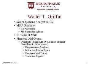 Walter T Griffin Senior Systems Analyst in EIS