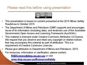 Please read this before using presentation This presentation