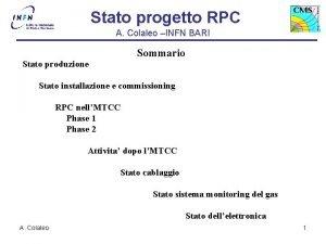 Stato progetto RPC A Colaleo INFN BARI Sommario
