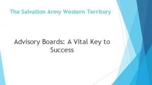 The Salvation Army Western Territory Advisory Boards A