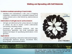 DMR 1608097 Wetting and Spreading with Soft Materials