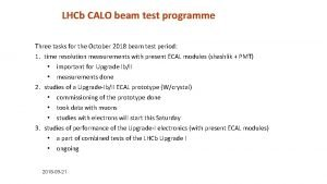 LHCb CALO beam test programme Three tasks for