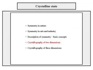 Crystalline state Symmetry in nature Symmetry in arts