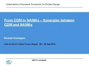 From CDM to NAMAs Synergies between CDM and