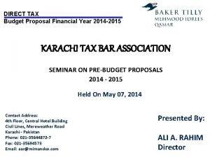 DIRECT TAX Budget Proposal Financial Year 2014 2015