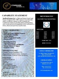 STARMARK PARTNERS Inc CAPABILITY STATEMENT Star Mark Partners