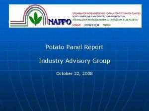 Potato Panel Report Industry Advisory Group October 22