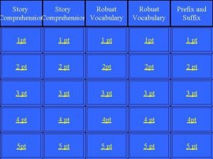 Story Robust Comprehension Vocabulary Robust Vocabulary Prefix and
