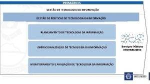 PRIMRIOS GESTO DE TECNOLOGIA DA INFORMAO GESTO DE