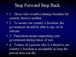 Step Forward Step Back 1 Those who would