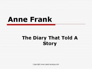Anne Frank The Diary That Told A Story