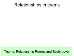 Relationships in teams Teams Relationship Rooms and Basic
