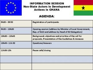INFORMATION SESSION NonState Actors in Development Actions in