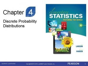 Chapter 4 Discrete Probability Distributions Copyright 2015 2012