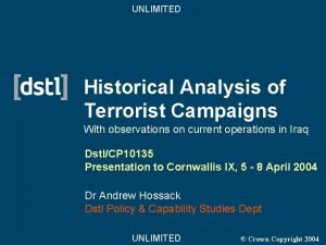 UNLIMITED Historical Analysis of Terrorist Campaigns With observations