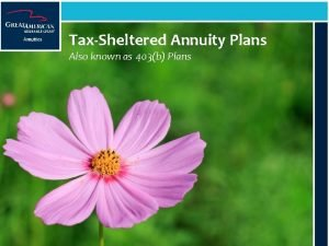 TaxSheltered Annuity Plans Also known as 403b Plans