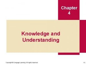 Chapter 4 Knowledge and Understanding Copyright Cengage Learning