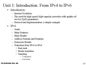 Unit 1 Introduction From IPv 4 to IPv