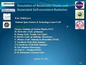 Simulation of Relativistic Shocks and Associated Selfconsistent Radiation