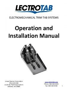 ELECTROMECHANICAL TRIM TAB SYSTEMS Operation and Installation Manual