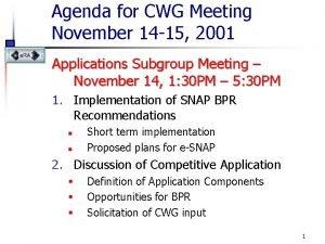 Agenda for CWG Meeting November 14 15 2001