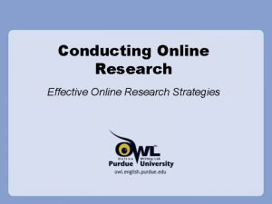Conducting Online Research Effective Online Research Strategies Overview
