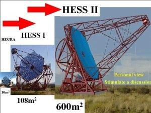 HESS II HEGRA HESS I Personal view Stimulate