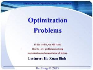 Natural Science Department Duy Tan University Optimization Problems