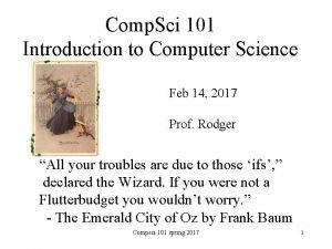 Comp Sci 101 Introduction to Computer Science Feb