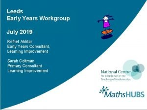 Leeds Early Years Workgroup July 2019 Refhet Akhtar