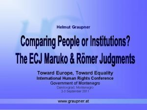 Helmut Graupner Toward Europe Toward Equality International Human