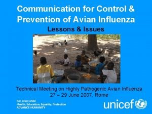 Communication for Control Prevention of Avian Influenza Lessons