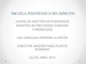 ESCUELA POLITCNICA DEL EJRCITO UNIDAD DE GESTIN DE