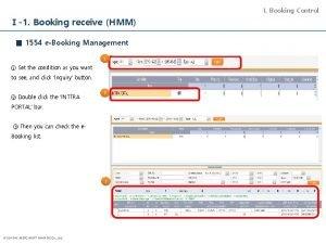 I Booking Control 1 Booking receive HMM 1554