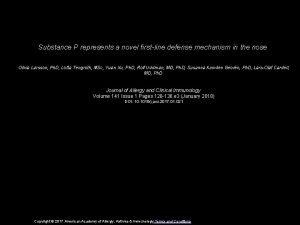 Substance P represents a novel firstline defense mechanism