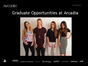Arcadia 2015 Graduate Opportunities at Arcadia Arcadia 2015