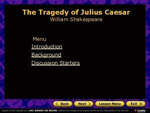 The Tragedy of Julius Caesar William Shakespeare Menu