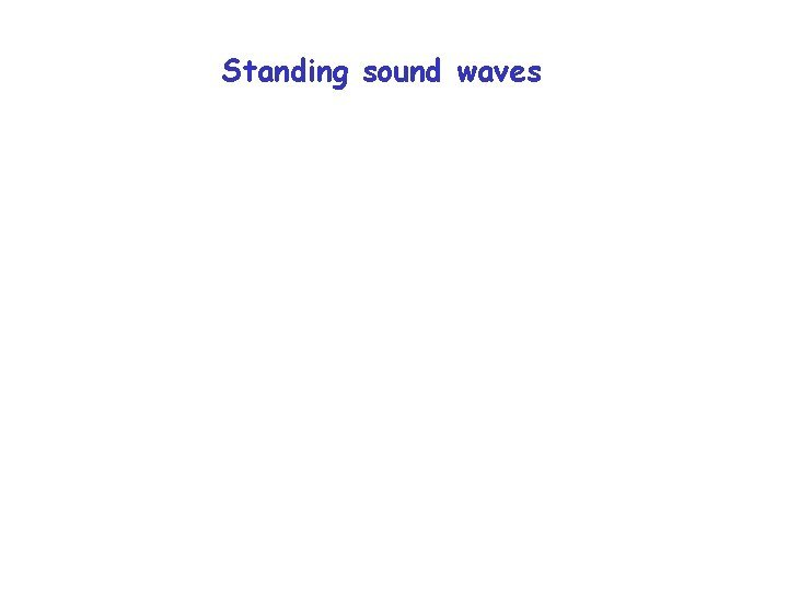 Standing sound waves Standing sound waves Sound in