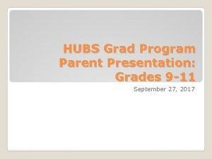 HUBS Grad Program Parent Presentation Grades 9 11