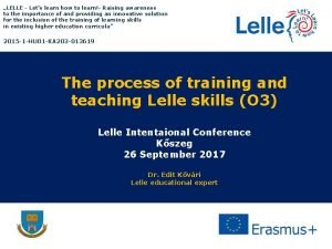 LELLE Lets learn how to learn Raising awareness